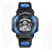 FAMILIZO Niños Reloj Digital LED Cuarzo Fecha De La Alarma Deportes Reloj Impermeable (Azul)
