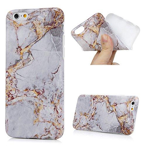 iPhone 6/6s Hülle Badalink Gefrorenes Marmor TPU Case Cover Ultraslim Handyhülle Schutzhülle Silikon Bumper Schutz Tasche Schale Antikratz Backcover, Schwarz+Blaun Grau+Gelb