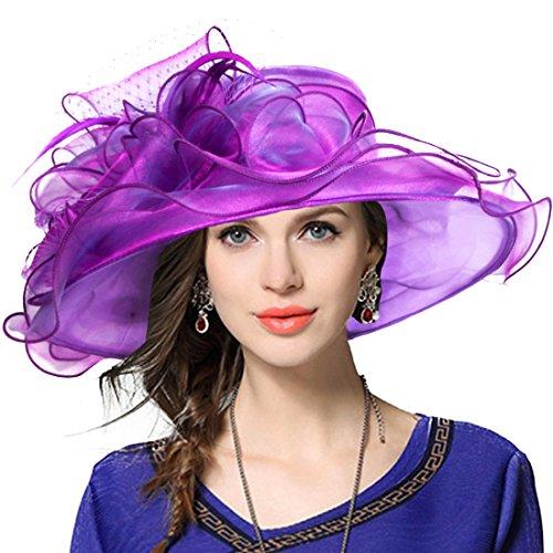 Damen Kirche Hut (Damen Kirche Derby Kleid Fascinator Braut Mütze Britischer Tee Party Hochzeit Sonnenhüte (Lila))