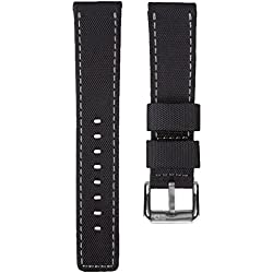 ZULUDIVER® Waterproof Divers Watch Strap Black & Grey Stitching 22mm