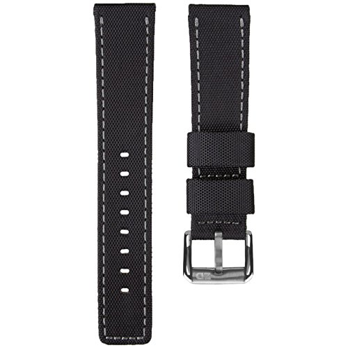 Price comparison product image ZULUDIVER® Waterproof Divers Watch Strap Black & Grey Stitching 22mm