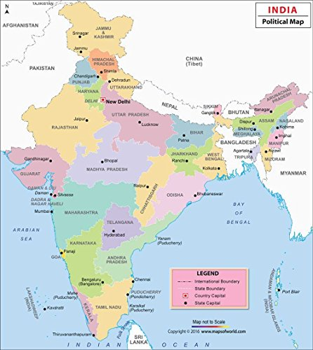"""India Political Wall Map - Printed on Vinyl (27.5"""" W x 32.6"""" H)"""
