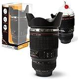 Twitfish® Camera Lens Mug Trinkbecher Kameraobjektiv - 450ml (Schwarz)