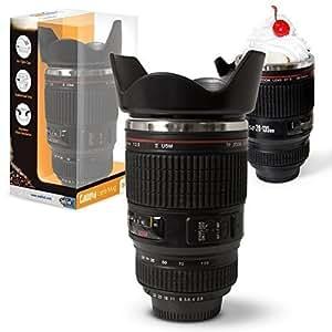 Twitfish® - Camera Lens Mug - Drinking Mug - Tazza paragonabile all'obiettivo Canon in scala 1:1 (interno in acciaio inox) (Nera)