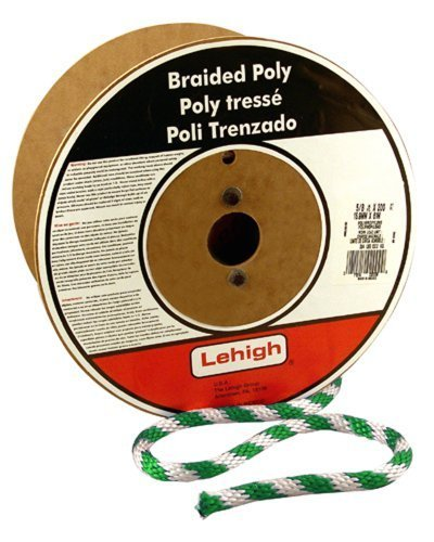 Lehigh GWSBP582 5/8-Inch by 200-Feet Polypropylene Solid Braided Rope,  White/Green by Crawford-Lehigh Group