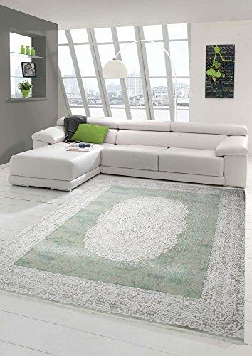Alfombra de lana de diseño y moderna alfombra con flecos beige crema menta verde Größe 120x170 cm