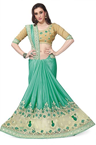 SareeShop Georgette Saree With Blouse Piece(Lakshmi-4015_Green Free Size)