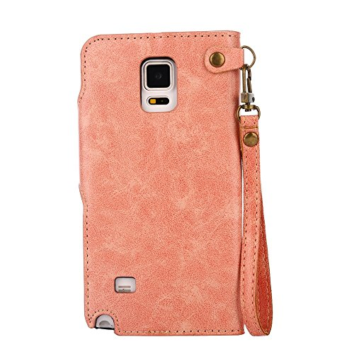 YHUISEN Galaxy Note 4 Case, Luxus Retro Rose Premium PU Leder Magnetverschluss Flip Wallet Schutzhülle mit Lanyard für Samsung Galaxy Note 4 ( Color : Orange ) Pink