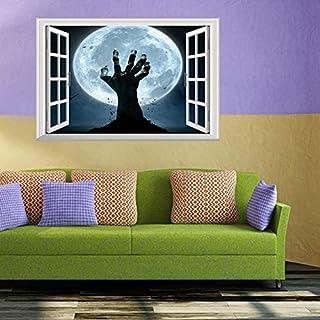 ZJING Autocollants muraux 3D Autocollants de la fenêtre Peinture de décoration d'halloween, Papier Peint Auto-adhésif de la Chambre des Enfants Bricolage Mobiles (48,5 cm * 72 cm),B