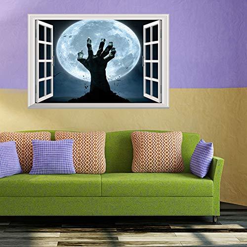 ZJING 3D Gefälschte Fenster Aufkleber Wandaufkleber Halloween Dekoration Malerei, DIY Beweglichen Kinderzimmer Selbstklebende Tapete (48,5 cm * 72 cm),B