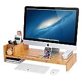 SONGMICS Bambus Monitorständer mit Einstellbare Aufbewahrungsboxen Bildschirmständer für Laptop Monitorerhöhung Bildschirmerhöher Aufbewahrung für Büro Arbeitszimmer LLD215N