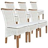 casamia Rattanstuhl-Set Perth 6 Stück weiß, Sitzkissen Leinen weiß mit Sitzkissen