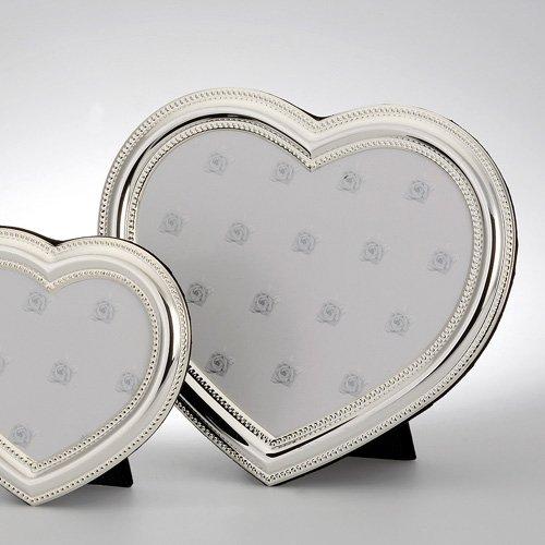Dekolust Bilderrahmen Herz Silber Metall 13 cm Groß Silber Bilder-Rahmen Herzförmig Bildhalter