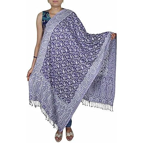 Wrap nozze sposa blu -Indian motivo paisley ha rubato la sciarpa per le ragazze 214 x 76 cm