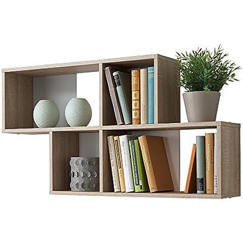 Estantería de pared de estantería de libros de espacio de almacenamiento estantería de Nora de madera de roble de colour