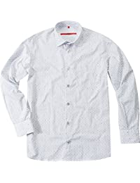 Signum Herren Hemd Kent Baumwolle Oberhemd Gemustert, Größe: S, Farbe: Weiß