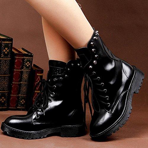 uBeauty Femme Martin Bottes Rivet Flattie Sport Boots Chaussures Classiques Bottines À Lacets Noir