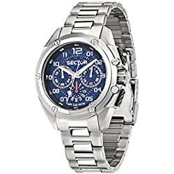 Sector No Limits 950 Men's Quartz Watch with Blue Dial Analogue Display and Silver Silicone Strap R3253581002