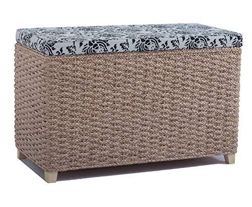 Büloo Bettbank Schlafzimmerbank Flurbank Schuhbank Sitzbank mit Aufbewahrung AufbewahrungshockerFaltbarer Aufbewahrungsbox aus natürlicher Wasserhyazinthe,mit Füße (80x40x52cm T)