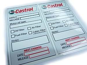castrol oil change service reminder sticker set of 10 pvc stickers luggage. Black Bedroom Furniture Sets. Home Design Ideas