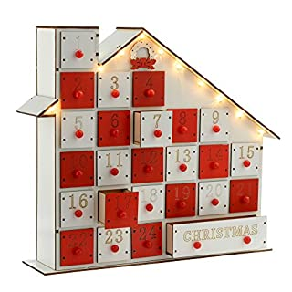 WeRChristmas Pre-Lit Wooden House Advent Calendar Christmas Decoration Illuminated with LED Lights, 30 cm - White