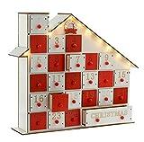WeRChristmas - Decorazione natalizia in legno intagliato, a forma di casetta di legno con calendario dell'avvento, illuminazione a LED, 4 luci bianco caldo, 33 cm