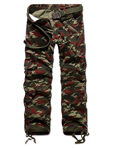 Menschwear Herren Cargo Hosen Freizeit Multi-Taschen Military pantaloni Ripstop Cargo da uomo (29,Grün) (Womens Field Leather Jacket)