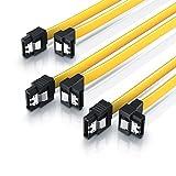 CSL - 3 x 0,5m S-ATA III Kabel | Flachkabel Premium HDD / SSD Datenkabel | 1x Stecker gerade zu 1x Stecker 90° | 1,5 GBs / 3GBs / 6GBs | schnelle, sichere und störungsfreie Datenübertragung | Verriegelungssystem für bessere Zugfestigkeit | abwärtskompatibel
