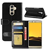 GOGME DOOGEE Mix 2 Wallet Case Premium PU Leather Wallet Cover with Magnetic Closure and Card Slots, Schwarz