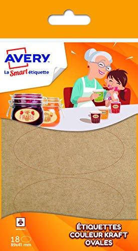 Avery Dekoknöpfe aus Etiketten oval Hellbraun (Kraftpapier) - Avery-etiketten-oval