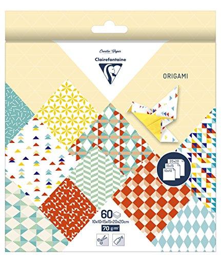 60 Blatt Origami Papier Kaleido, 3 Größen / Bastelpapier 10, 15 und 20 cm
