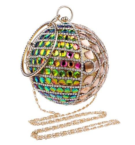 Santimon-Frauen-Clutches-Glitzernde Rhinestones-Korn-Kristall-Runde Form-Handtasche Für Abend-Partei-Cocktail Gold