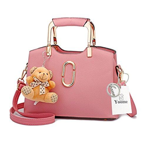 Yoome Carino Bambola Bear Bear Hardware Pendente Manico Top Vegan Cuoio Bambini Borse Per College - Blu Rosa