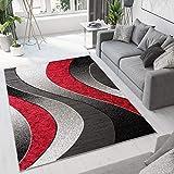 TAPISO Luxury Tappeto Moderno Soggiorno Camera da Letto Salotto Rosso Grigio Geometrico A Pelo Corto 180 x 250 cm