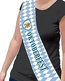 Zauberclown Motto-Party Schärpe Oktoberfest, Bavaria blau weiß Rauten, Mehrfarbig