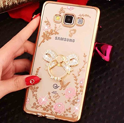 TAITOU LeEco Le Pro3 Diamond Ring Movie Stand Case, Shiny Perfume Bottle 360° Rotating Kickstand Clear Garden Flower Soft TPU Cover, Plating Bumper Phone Case for LeEco Le Pro 3 Gold