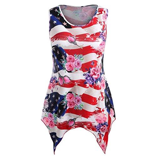 VEMOW Casual Tops Bluse Große Größe Damen Mädchen Frauen Amerikanische Flagge Druck Rot Täglichen Party Shirt Sleeveless T Shirts(Rot, EU-42/CN-M)