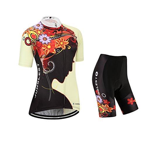 Damen Fahrrad-Trikot und Hose, Fahrrad-Bekleidung, kurzärmlig, 3D Sitzpolster, JUNGLESTBrustumfang 85-91cm