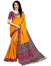 Art Décor Sarees Women's Yellow Color Khadi Silk Printed Saree With Blouse