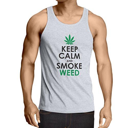 lepni.me Weste Halten Sie Ruhe und Rauch - Marihuana Blatt - Unkraut Raucher (Small Weiß Schwarz)