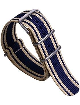 22mm beige / dunkelblau super weich preppy Nylon Leinwand NATO Stil Look Männer Uhrbändern Riemen Ersatz