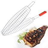 #9: VDNSI Brand new Barbecue Meshes Camping Grill Rack BBQ Clip Folder Grill Single Fish Meat Hinged Basket