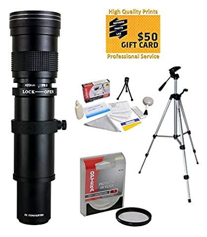 Opteka Téléobjectif 420–1600mm f/8.3avec filtre UV et trépied pour Nikon