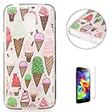 Samsung Galaxy S5 Mini Transparent case [with Free Screen Protector],KaseHom Flexible TPU Gel Protective Skin Shock Absorption Technology Anti-scratching Rubber Bumper Ice Cream Printing Painting Design See Through Crystal Clear Silicone Cover for Samsung Galaxy S5 Mini