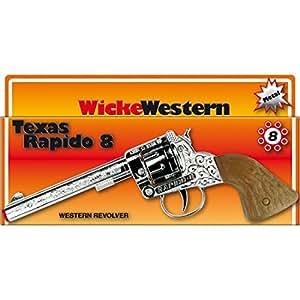 Pistolet Texas Rapido 8 coups 214 mm chrome-marron revolver western canon cowboy colt shérif arme jouet ranger