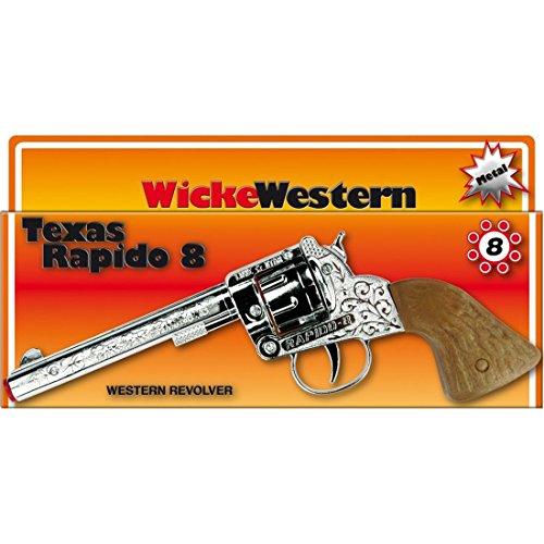 a18610636624 NET TOYS Pistolet Texas Rapido 8 coups 214 mm chrome-marron revolver western  canon cowboy