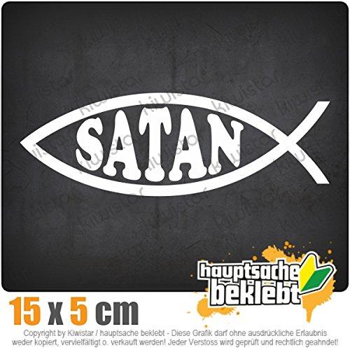Kiwistar Satan Fisch 15 x 5 cm IN 15 FARBEN - Neon + Chrom! Sticker Aufkleber