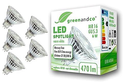 5x greenandco® LED Spot ersetzt 40 Watt GU5.3 MR16 Halogenstrahler, 6W 470 Lumen 3000K warmweiß SMD LED Strahler 36° 12V AC/DC Glas mit Schutzglas, nicht dimmbar, 2 Jahre