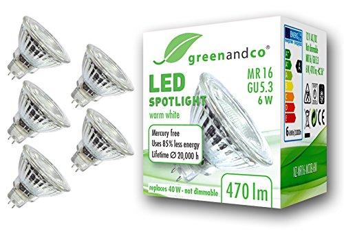 Preisvergleich Produktbild 5x greenandco® LED Spot ersetzt 40 Watt GU5.3 MR16 Halogenstrahler,  6W 470 Lumen 3000K warmweiß SMD LED Strahler 36° 12V AC / DC Glas mit Schutzglas,  nicht dimmbar,  2 Jahre Garantie