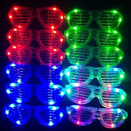 f3d8173ce3 MuLucky Luz fluorescente de plástico Unisex Fashion luminoso con LED juego  de 12 pantallas gafas de